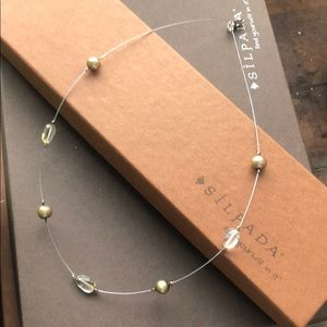 Silpada crystal sterling and brass wire necklace